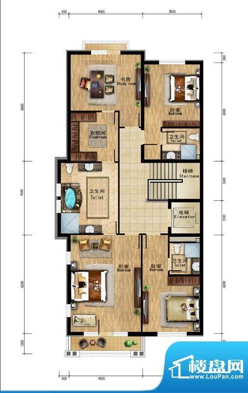 润泽庄园·墅郡C户型-二层 5室