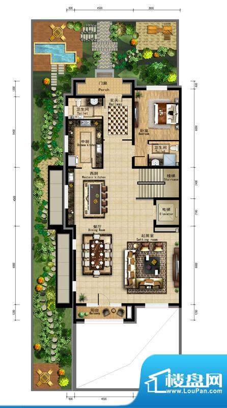 润泽庄园·墅郡C户型-首层 5室