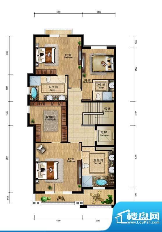 润泽庄园·墅郡B户型-二层 4室
