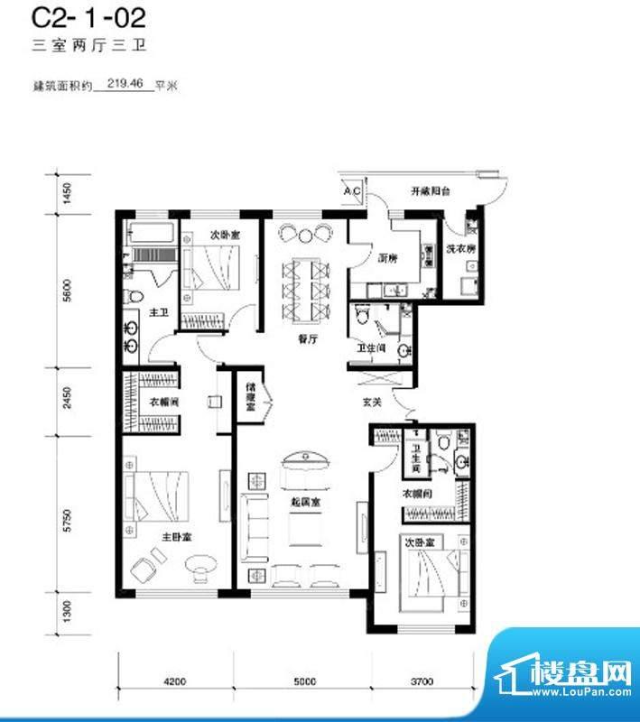 天润福熙大道C2户型 3室2厅3卫面积:219.46平米