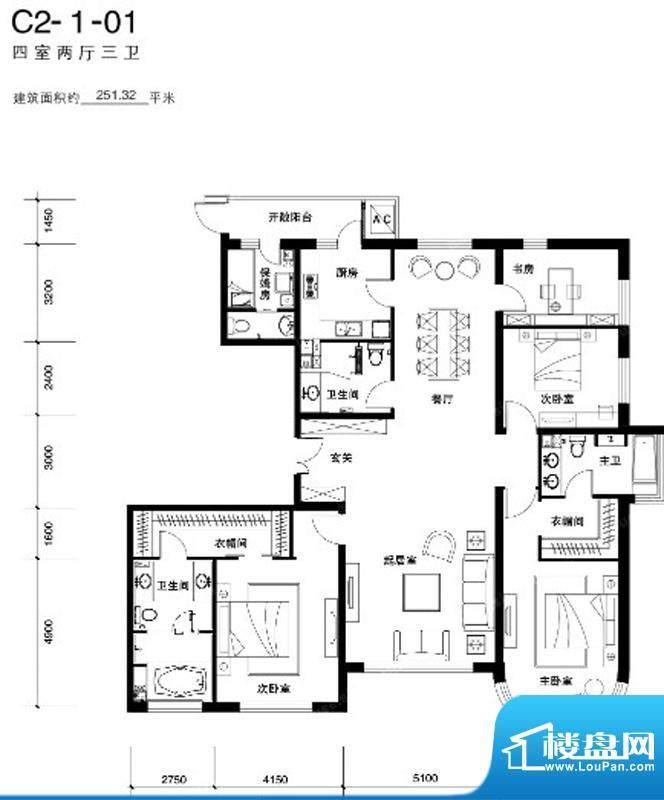 天润福熙大道C2户型 4室2厅3卫面积:251.32平米