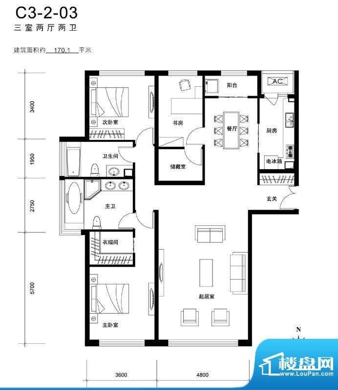 天润福熙大道C3-2-03户型 3室2面积:170.10平米