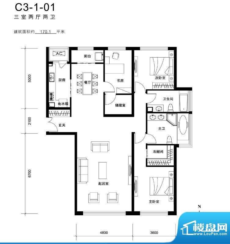 天润福熙大道C3-1-01户型 3室2面积:170.10平米