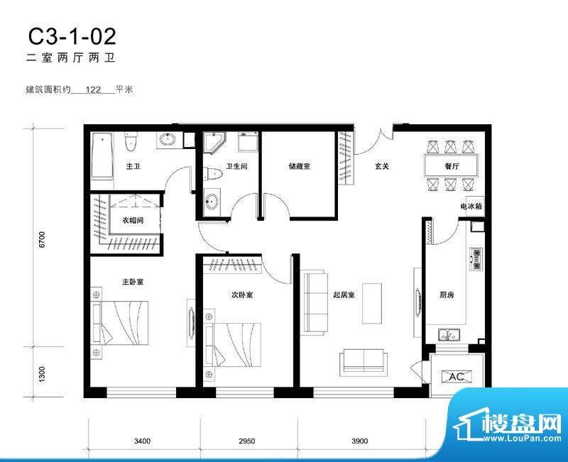 天润福熙大道C3-1-02户型 2室2面积:122.00平米