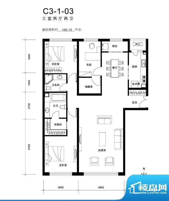 天润福熙大道C3-1-03户型 3室2面积:166.19平米