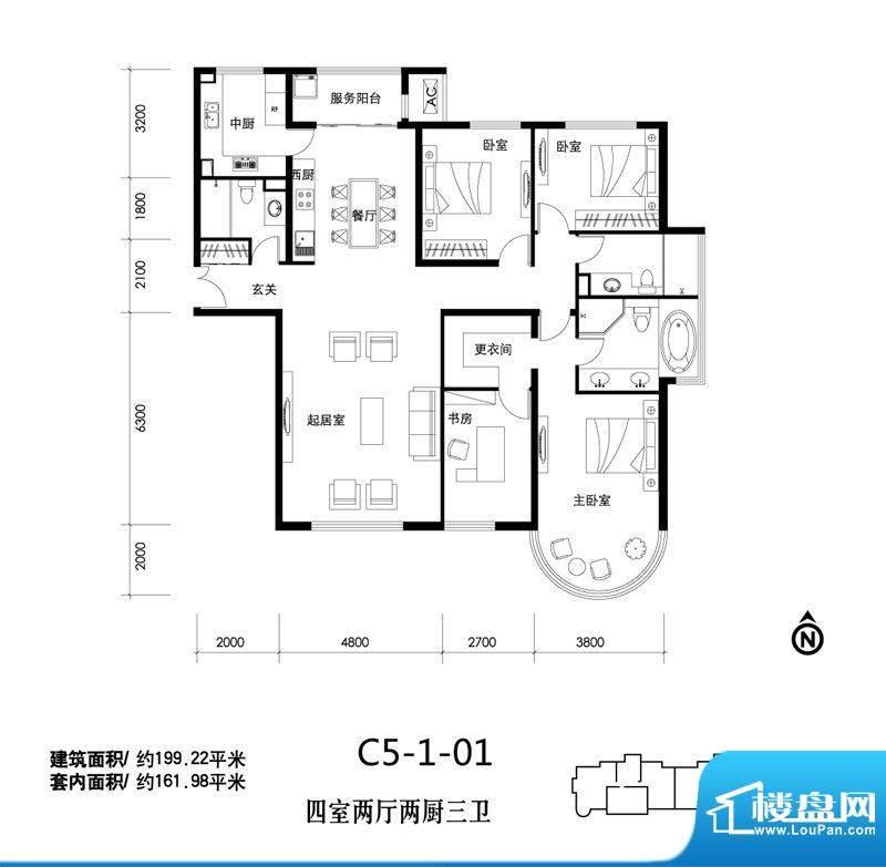 天润福熙大道C5-1-01户型 4室2面积:199.22平米