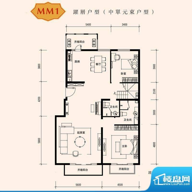 朱雀门家苑MM1中单元东户型首层面积:259.12平米