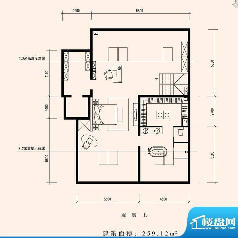 朱雀门家苑MM1西单元东户型二层面积:259.12平米