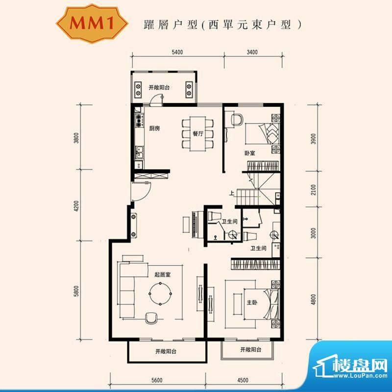 朱雀门家苑MM1西单元东户型首层面积:259.12平米