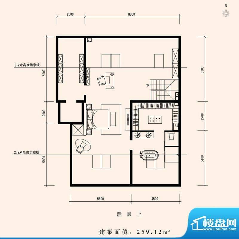 朱雀门家苑MM1中单元东户型二层面积:259.12平米