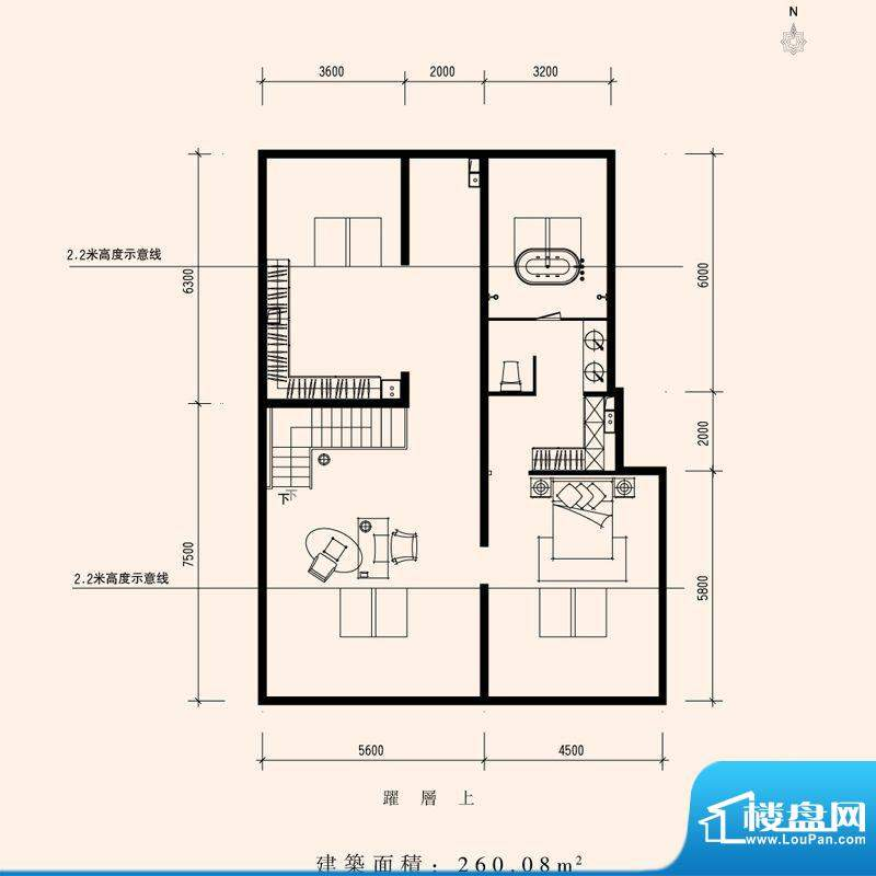 朱雀门家苑NN1西单元西户型二层面积:260.08平米