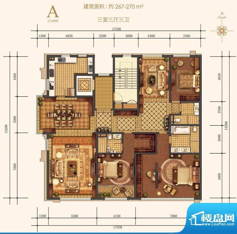 西山壹号院二期A户型图 3室3厅面积:267.00平米
