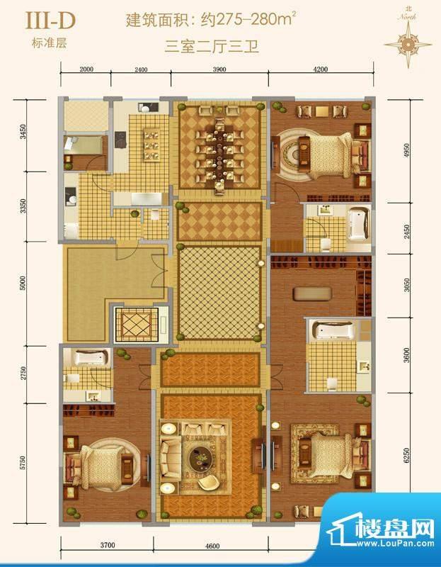 西山壹号院Ⅲ-D户型 3室2厅3卫面积:275.00平米