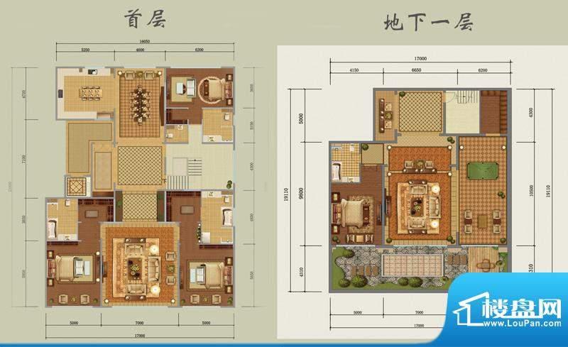 西山壹号院下跃-B户型图 3室3厅面积:660.00平米