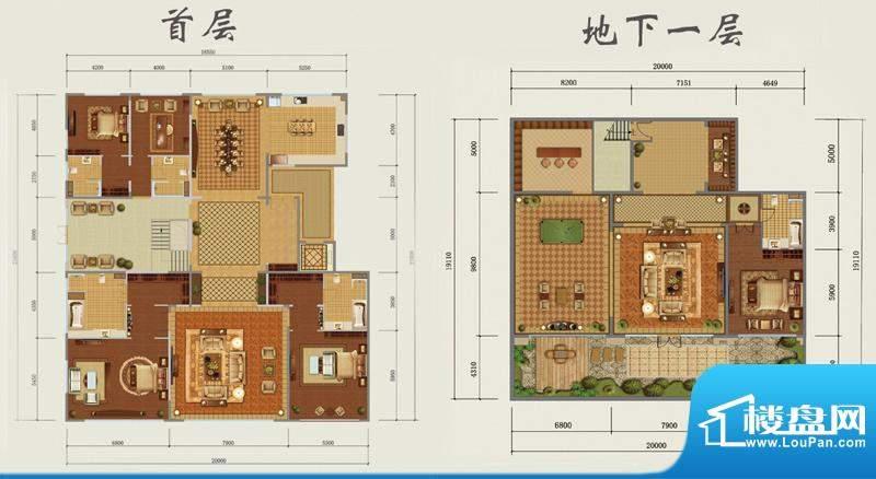 西山壹号院下跃-A户型图 4室3厅面积:780.00平米