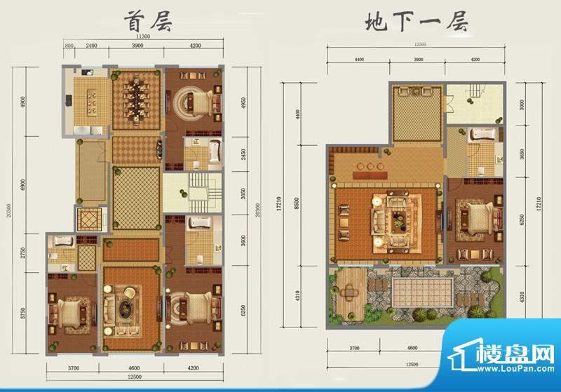 西山壹号院下跃-D户型图 3室2厅面积:440.00平米