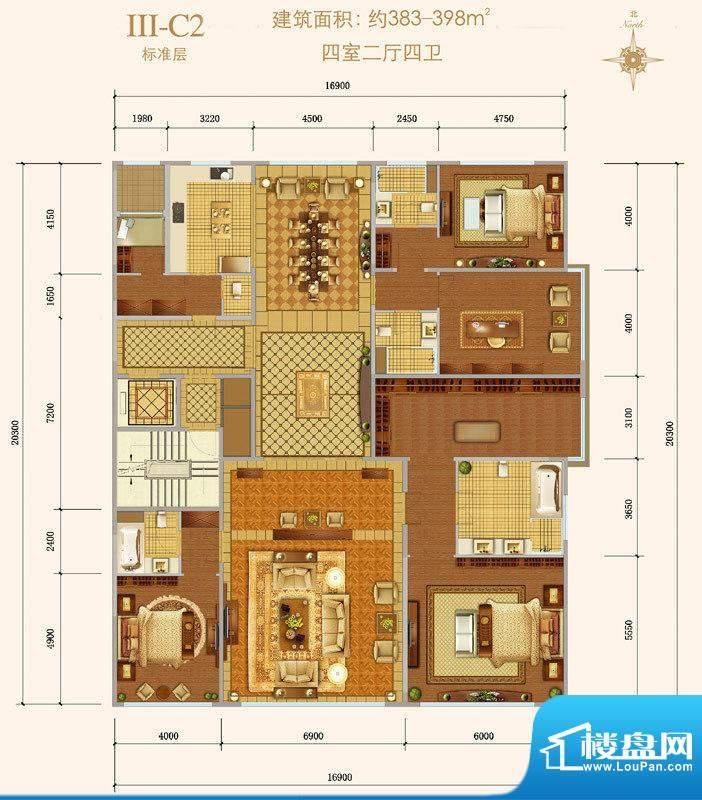西山壹号院Ⅲ-C2户型 4室2厅4卫面积:383.00平米