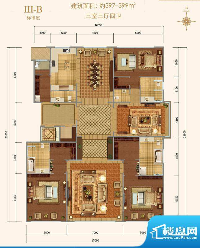 西山壹号院Ⅲ-B户型 3室3厅4卫面积:397.00平米