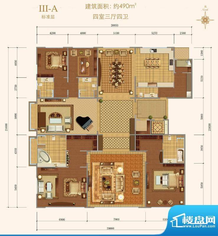 西山壹号院Ⅲ-A户型 4室3厅4卫面积:490.00平米