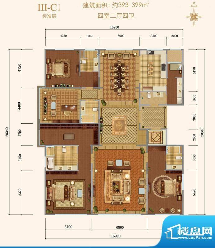 西山壹号院Ⅲ-C1户型 4室2厅4卫面积:393.00平米