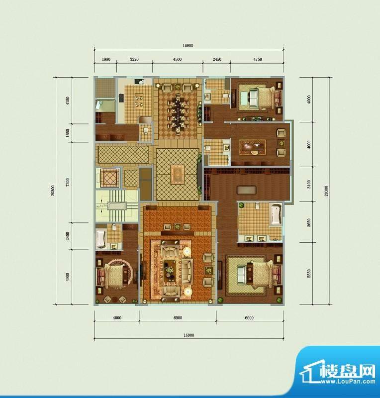 西山壹号院C2标准层户型 4室2厅面积:383.00平米