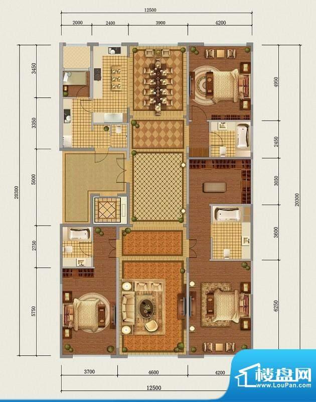 西山壹号院D标准层户型 3室2厅面积:275.00平米