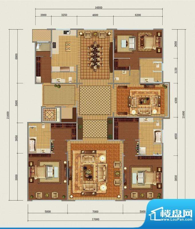 西山壹号院B标准层户型 3室3厅面积:397.00平米
