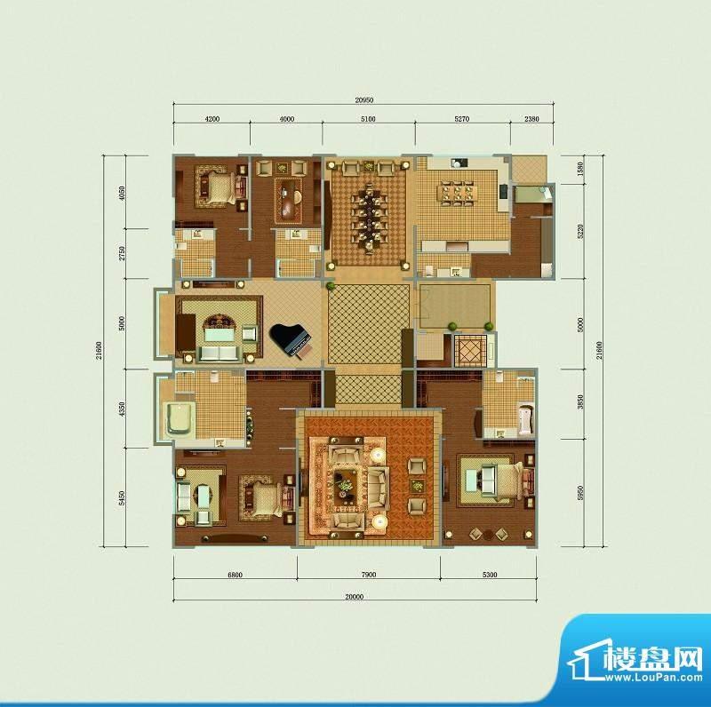 西山壹号院A标准层户型 4室3厅面积:490.00平米