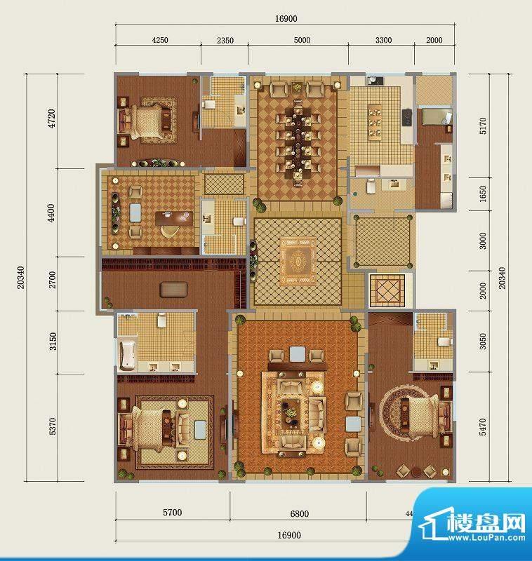 西山壹号院C1标准层户型 4室2厅面积:393.00平米