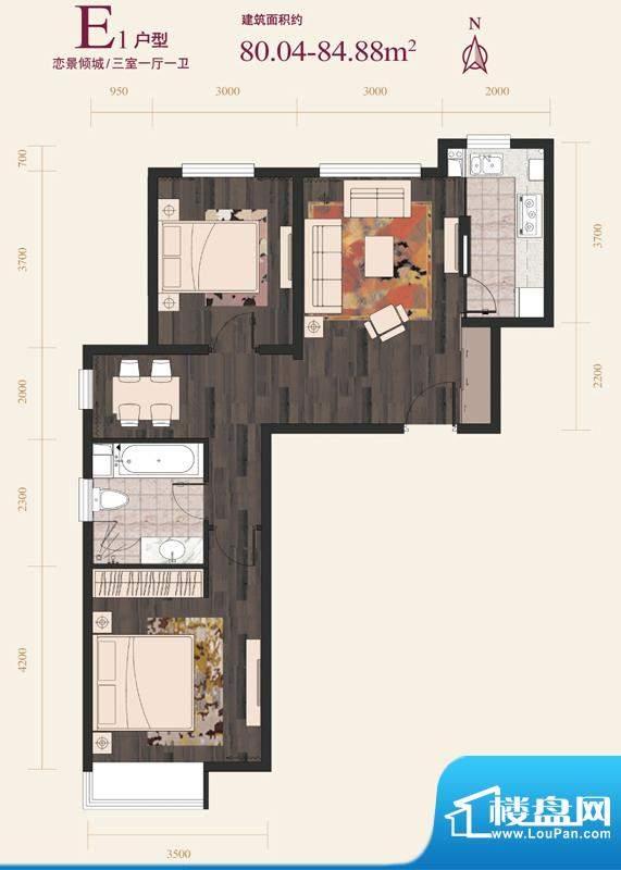 绿地·国际花都E1户型 3室1厅1面积:80.04平米