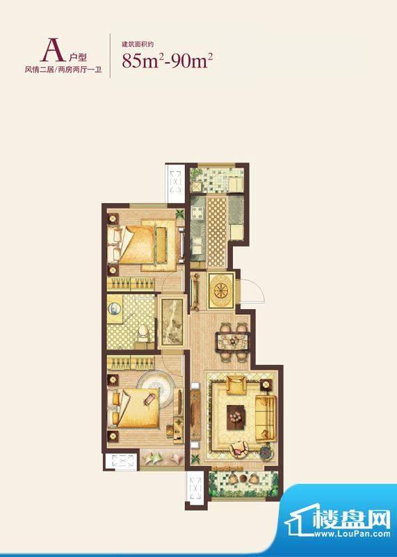 绿地·国际花都A户型图 2室2厅面积:85.00平米