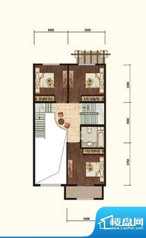 阳光邑上联排二层 3室1厅1卫面积:232.00平米