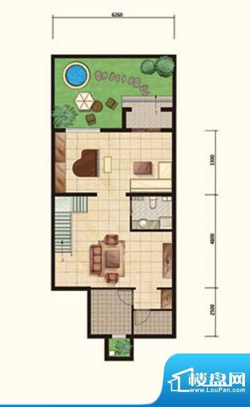 阳光邑上联排花园层 2厅1卫面积:232.00平米