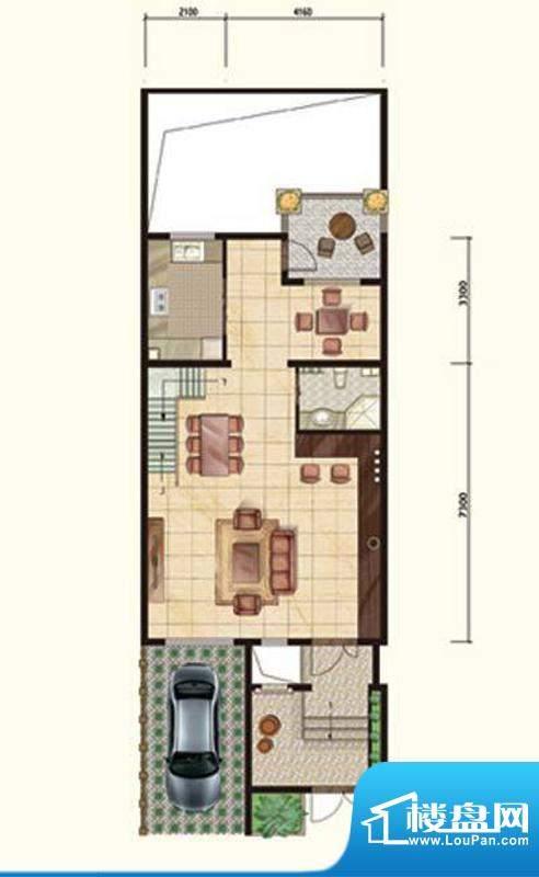 阳光邑上联排一层 2厅1卫1厨面积:232.00平米