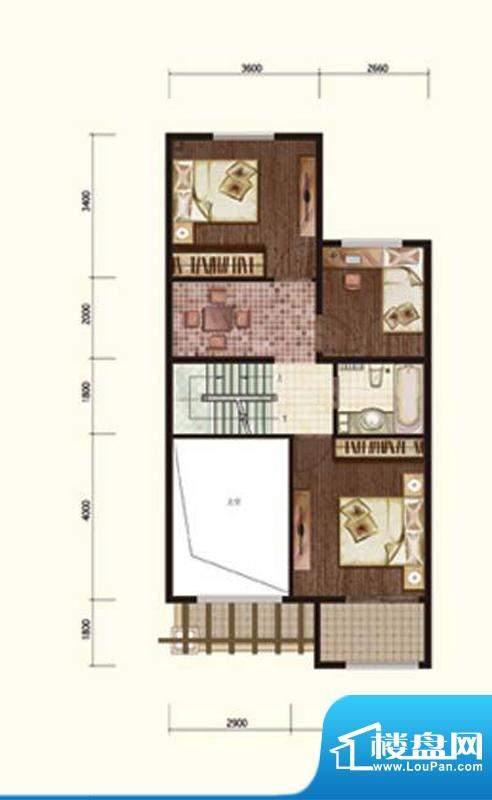 阳光邑上联排二层 3室1厅1卫面积:240.00平米
