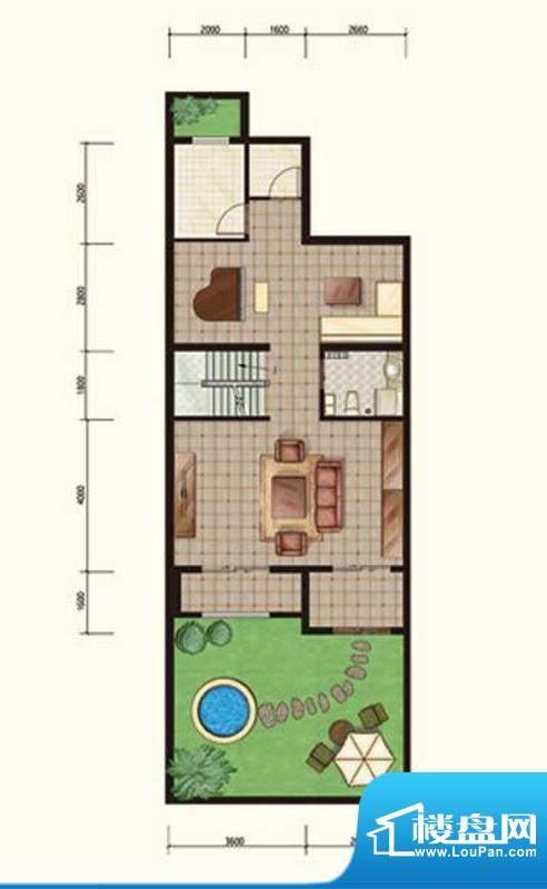 阳光邑上联排花园层 2厅1卫面积:240.00平米