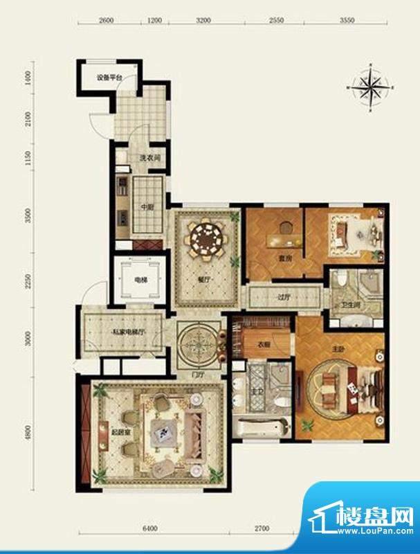 远洋万和公馆A户型 2室3厅2卫1面积:170.00平米