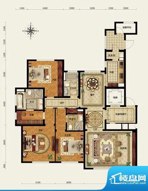 远洋万和公馆B户型 3室3厅3卫1面积:207.00平米