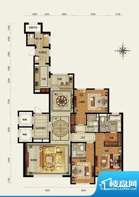 远洋万和公馆C户型 3室3厅3卫1面积:256.00平米