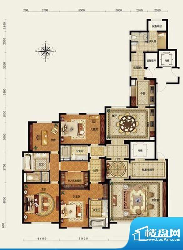 远洋万和公馆E户型 4室3厅3卫1面积:280.00平米