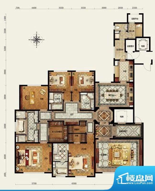 远洋万和公馆F户型 5室3厅4卫1面积:350.00平米