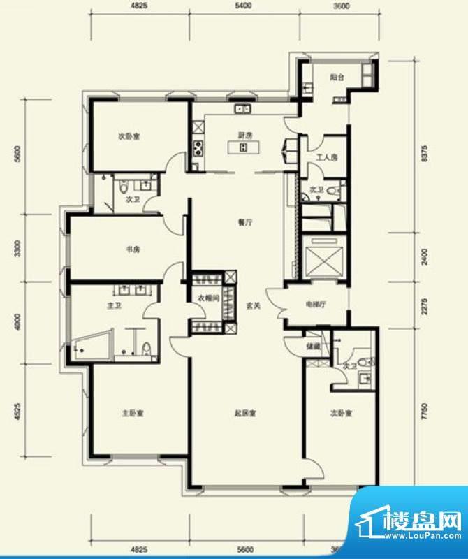 金茂府A3户型 4室3厅4卫1厨面积:304.06平米