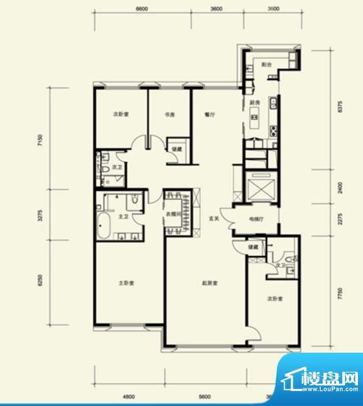 金茂府A2户型 4室2厅3卫1厨面积:282.80平米