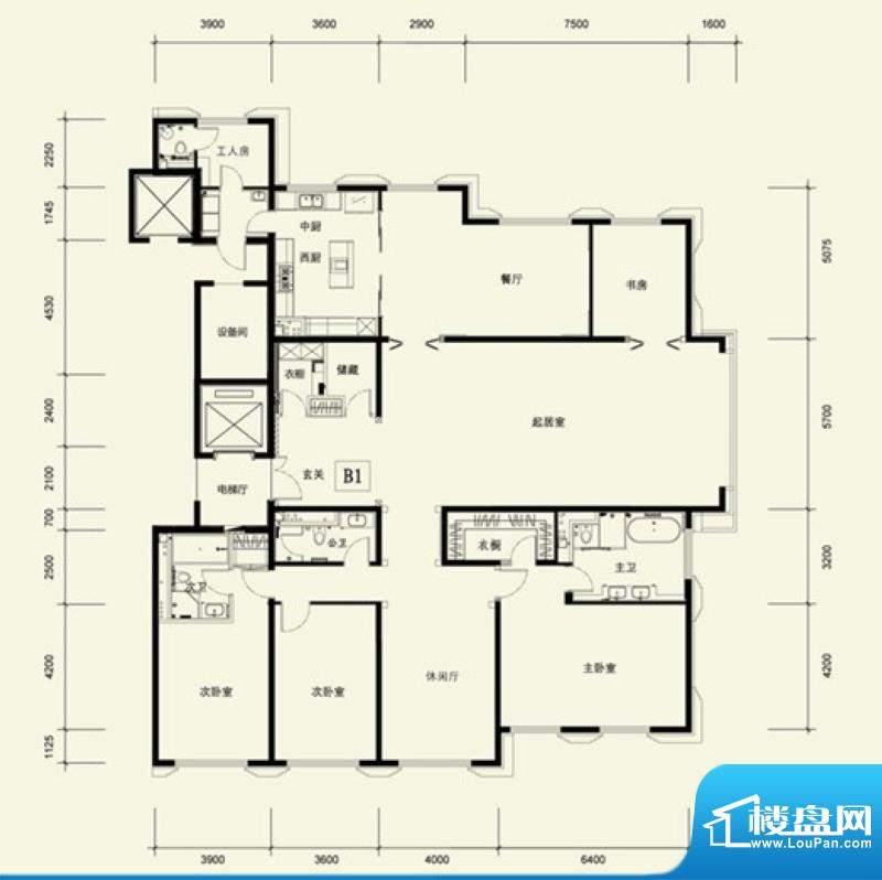 金茂府B1户型 4室3厅4卫1厨面积:389.18平米