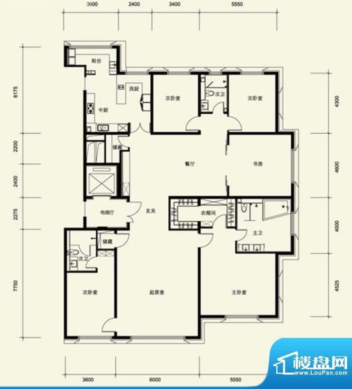 金茂府A1户型 5室2厅3卫1厨面积:331.23平米