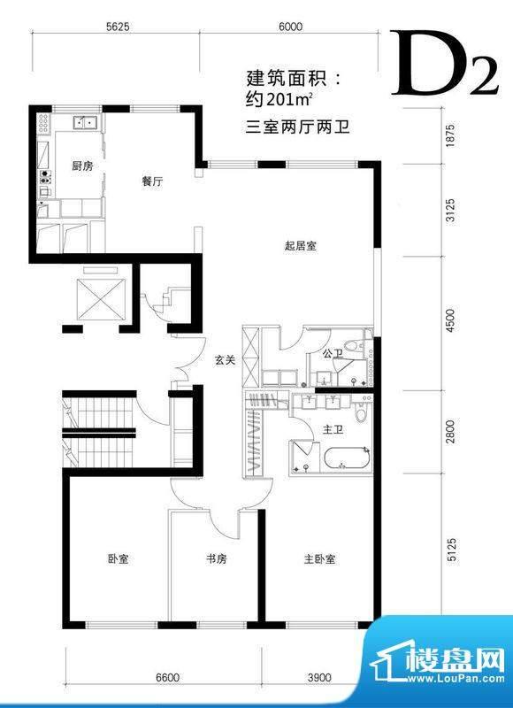 金茂府D2户型图 3室2厅2卫1厨面积:201.00平米