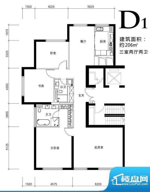 金茂府D1户型图 3室2厅2卫1厨面积:206.00平米