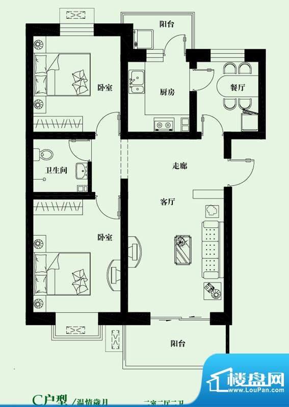 鸿都第一城C户型图 2室2厅2卫1面积:97.00平米