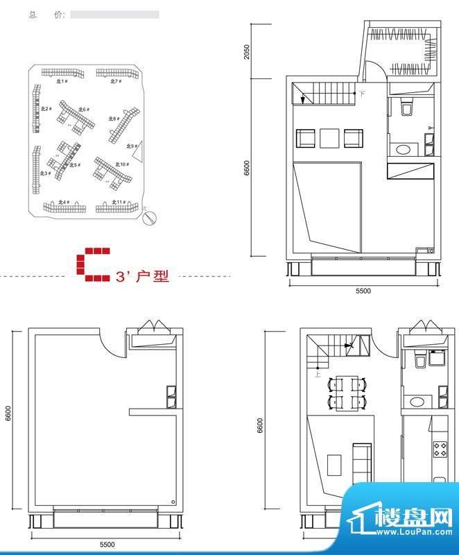 中弘北京像素C3户型 2室1厅2卫面积:40.00平米