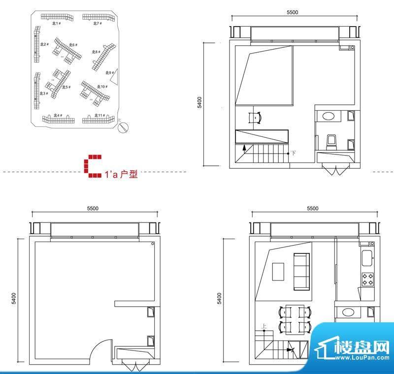 中弘北京像素C1a户型 2室1厅2卫